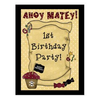 1r Invitaciones del pirata del cumpleaños Postales