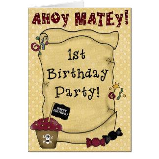1r Invitaciones del pirata del cumpleaños Felicitacion