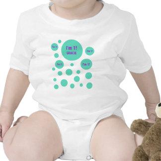 1r La PÚRPURA VERDE de 1 año del cumpleaños burbuj Trajes De Bebé