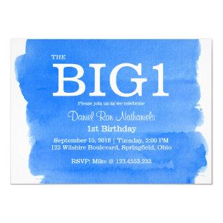 """1r Lavado azul de la acuarela de Little Boy del Invitación 4.5"""" X 6.25"""""""