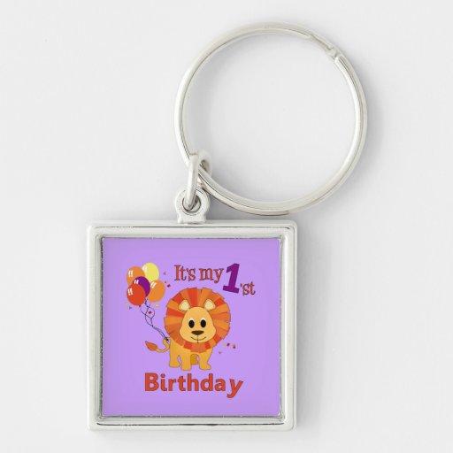 1r León del cumpleaños Llaveros Personalizados