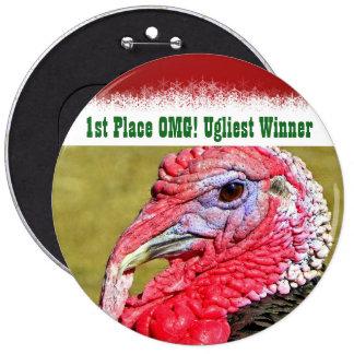 ¡1r lugar OMG del navidad del ganador feo del Pin Redondo De 6 Pulgadas