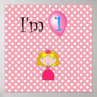 1r Lunares rosados de la princesa del cumpleaños Posters