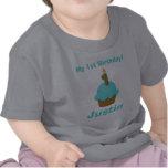 1r Magdalena azul del cumpleaños con la vela Camisetas