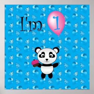 1r Modelo azul del cumpleaños de la panda del cump Posters