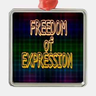 1r Modelo de la tela escocesa de la libertad de Adorno Navideño Cuadrado De Metal