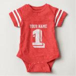 1r Mono del bebé del número del jersey del fútbol