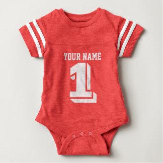 1r Mono del bebé del número del jersey del fútbol Playera