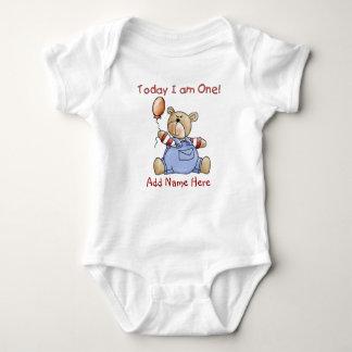 1r mono y camiseta personalizados del cumpleaños polera