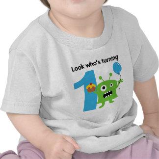 1r Monstruo lindo de la camiseta del cumpleaños