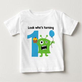 1r Monstruo lindo de la camiseta del cumpleaños Playera
