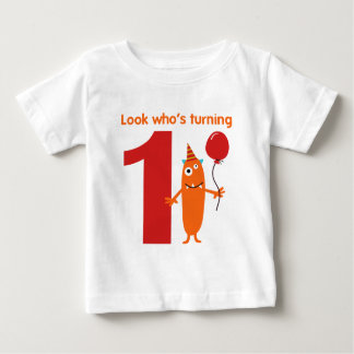 1r Monstruo lindo de la camiseta del cumpleaños Polera