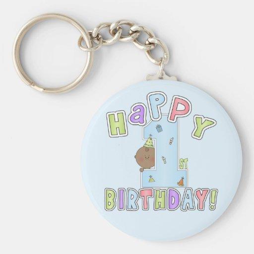 1r Muchacho del cumpleaños, afroamericano Llaveros Personalizados