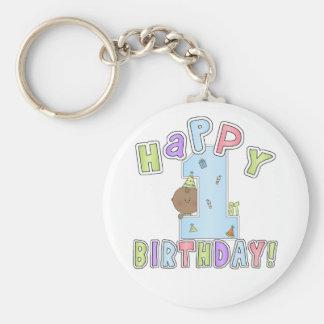 1r Muchacho del cumpleaños, afroamericano Llavero Redondo Tipo Pin