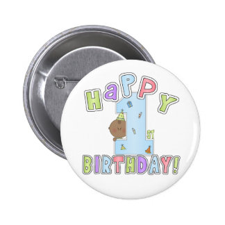 1r Muchacho del cumpleaños, afroamericano Pin