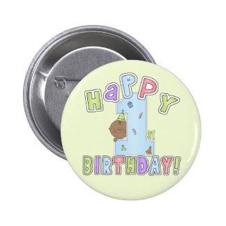 1r Muchacho del cumpleaños, afroamericano Pins
