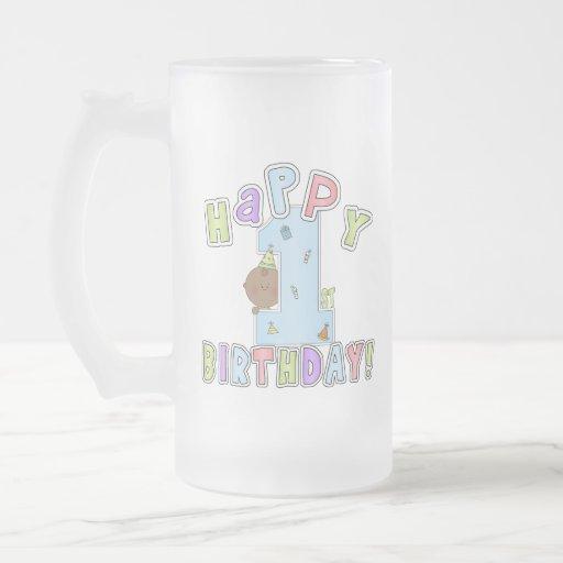 1r Muchacho del cumpleaños, afroamericano Taza De Cristal