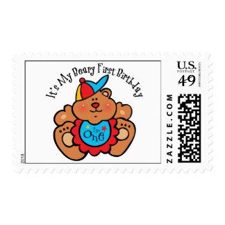 1r muchacho del cumpleaños de Beary Sello Postal