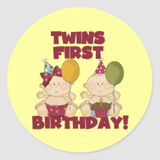1r muchacho del cumpleaños de los gemelos camiseta pegatina redonda