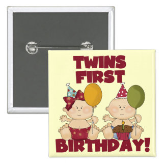 1r muchacho del cumpleaños de los gemelos/camiseta pin cuadrada 5 cm
