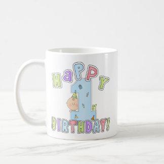 1r Muchacho del cumpleaños Tazas De Café