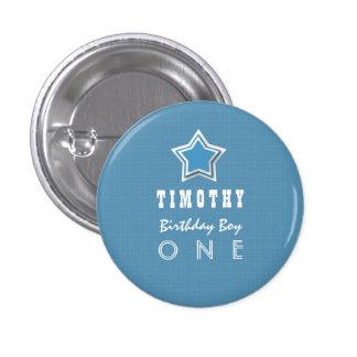 1r Muchacho del cumpleaños una estrella blanca Pin