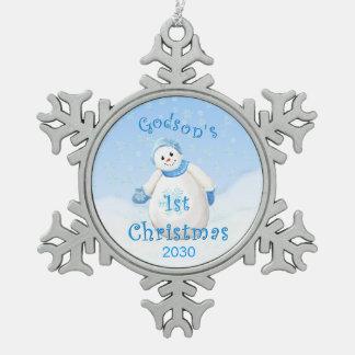 1r muñeco de nieve del navidad del ahijado adorno de peltre en forma de copo de nieve