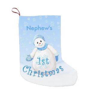 1r muñeco de nieve del navidad del sobrino bota navideña pequeña