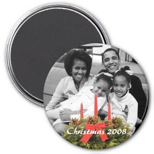 1r navidad 2008 de la familia de presidente Obama Imán De Frigorífico