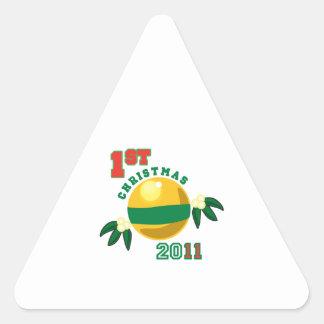 1r Navidad 2011 Pegatina De Triangulo Personalizadas