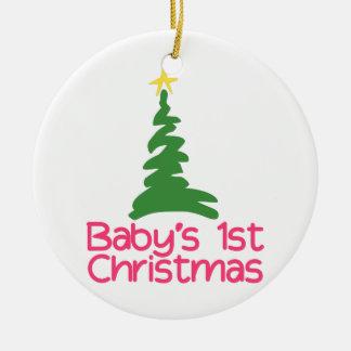 1r navidad de Babys Adorno Navideño Redondo De Cerámica