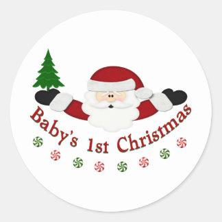 1r navidad de Babys Pegatina Redonda
