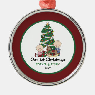 1r navidad de los gemelos lindos personalizado adorno navideño redondo de metal