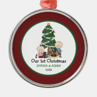 1r navidad de los gemelos lindos personalizado ornaments para arbol de navidad