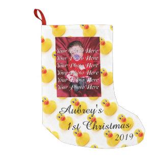 1r navidad de los patos amarillos del caucho bota navideña pequeña