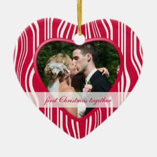 1r navidad rojo y del blanco junto: El casarse Adorno De Cerámica En Forma De Corazón