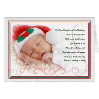 1r nombre de encargo del navidad el   de la nieta tarjeta de felicitación