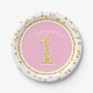 1r nombre del cumpleaños del oro del falso confeti plato de papel de 7 pulgadas