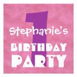 1r Nubes rosadas modernas del cumpleaños reciclada Invitación