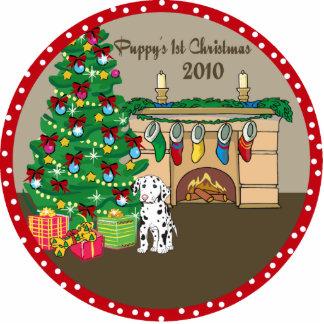 1r ornamento 2010 del navidad del perrito dálmata esculturas fotográficas