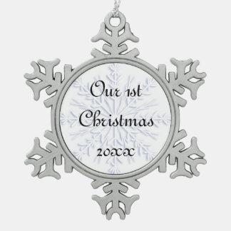 1r Ornamento azul del copo de nieve del navidad Adorno De Peltre En Forma De Copo De Nieve