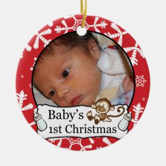 1r ornamento de encargo de la foto de Navidad del Adorno Navideño Redondo De Cerámica