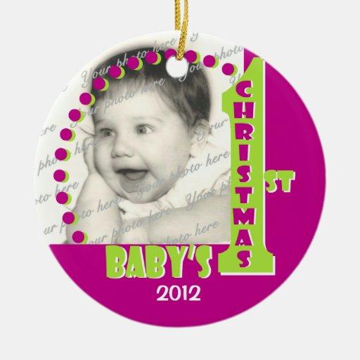 1r ornamento de la foto del navidad del bebé adorno navideño redondo de cerámica