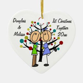 1r ornamento del corazón del navidad del par junto adorno navideño de cerámica en forma de corazón