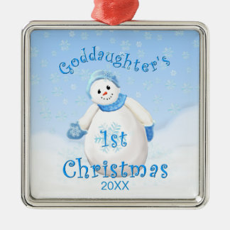 1r ornamento del muñeco de nieve del navidad de la adorno cuadrado plateado