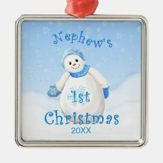 1r ornamento del muñeco de nieve del navidad del adorno navideño cuadrado de metal
