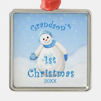 1r ornamento del muñeco de nieve del navidad del adorno cuadrado plateado