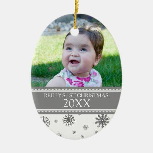 1r ornamento del navidad de la nieve del bebé gris adorno ovalado de cerámica