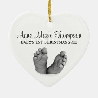 1r ornamento del navidad del bebé adorno navideño de cerámica en forma de corazón