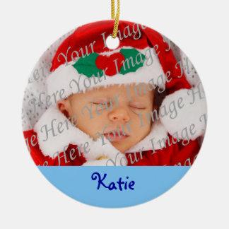 1r ornamento del navidad del bebé adorno navideño redondo de cerámica